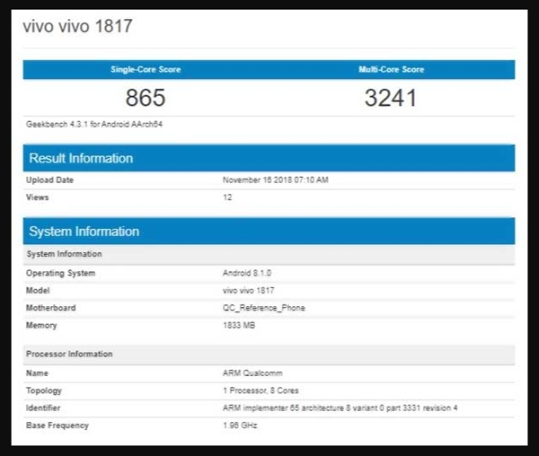 Vivo 1817 Geekbench