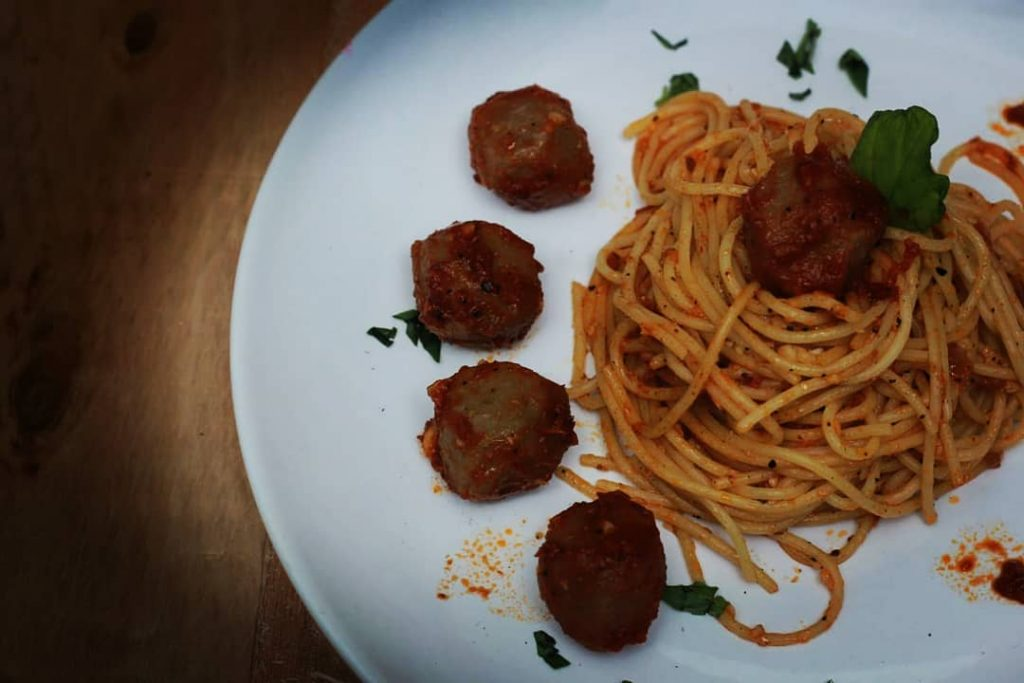10 Spaghetti MeatBall Marinara Sauce Served With Parmesan Cheese